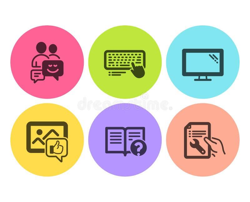 象照片,显示器和帮助象集合 通信,键盘和修理文件标志 ?? 皇族释放例证