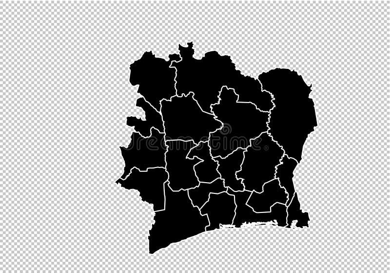 象牙海岸地图-高详细的黑地图以县/象牙海岸在透明隔绝的象牙海岸地图地区/状态  向量例证