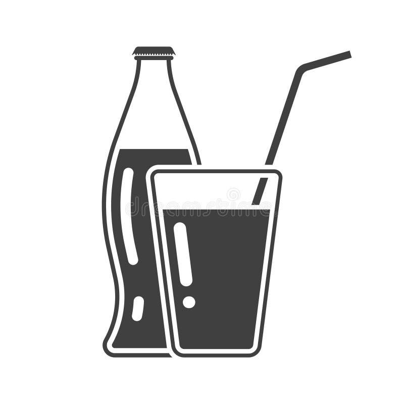 象瓶和杯与一支管的苏打在一个新的设计 E 向量例证