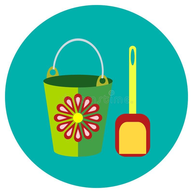 象用桶提和玩具铁锹在平的样式的 在回合色的背景的传染媒介图象 设计,接口的元素 图库摄影
