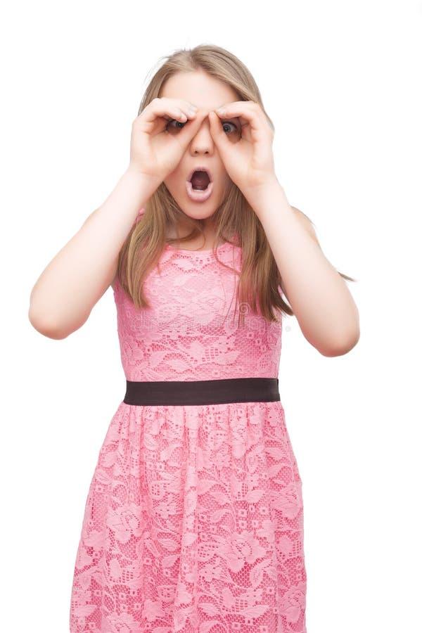 画象白种人十几岁的女孩仿效双眼使用Ha 库存照片