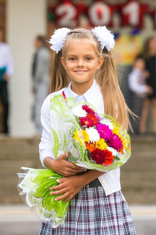 画象第一所平地机女孩学校 库存图片