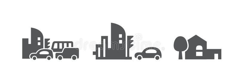 象红绿灯和交叉路 光滑的线 简洁的语句和样式 机器和城市 被隔绝的黑白 皇族释放例证