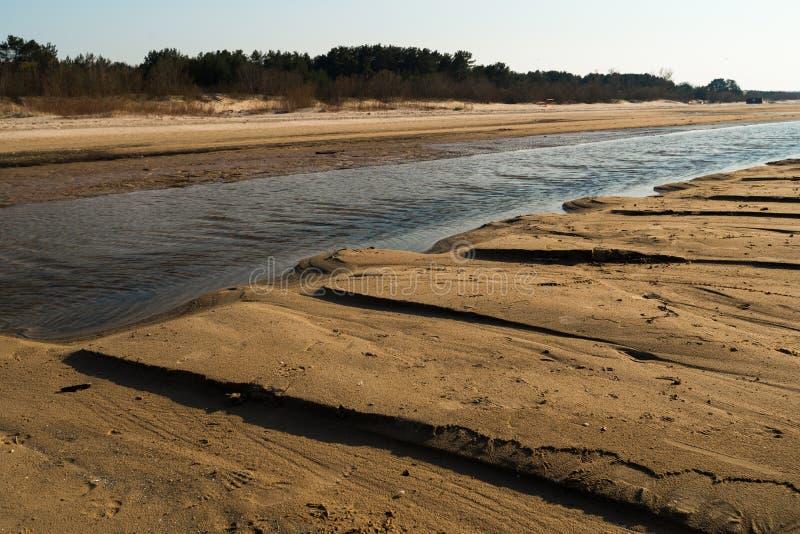 象织地不很细沙子-波罗的海与白色沙子的海湾海滩的点心在日落 库存照片