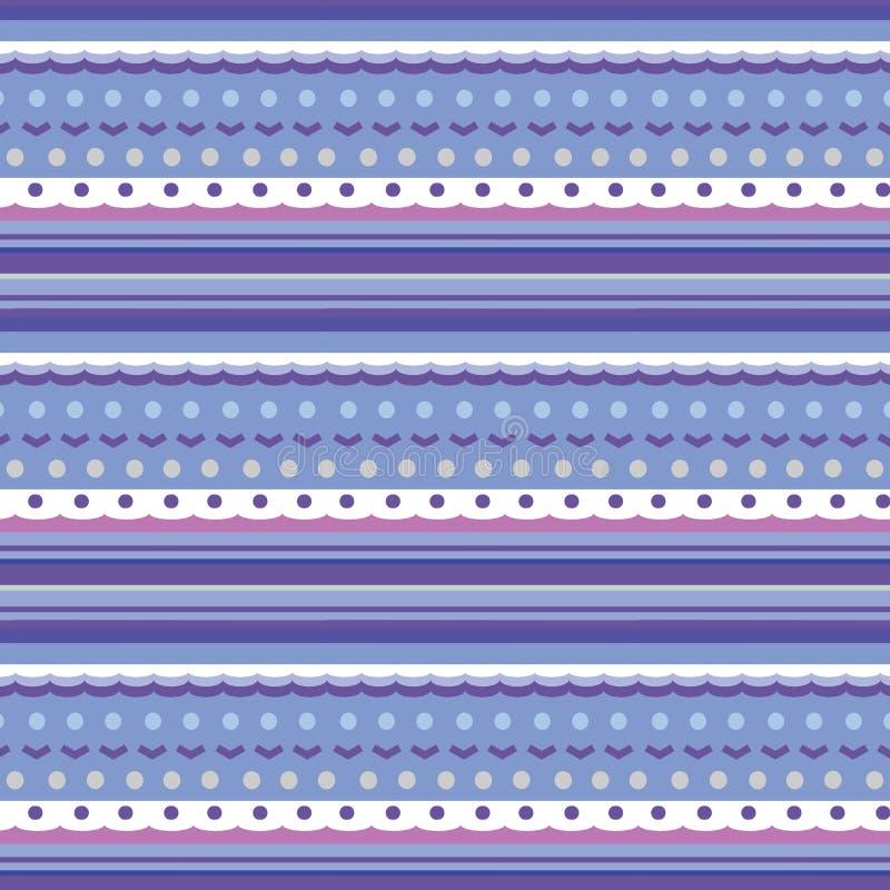 象编织的样式的无缝的纹理与各种各样的条纹、小点和波浪 库存例证