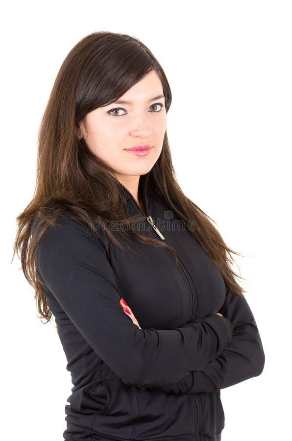 画象美好年轻深色女孩摆在 库存照片