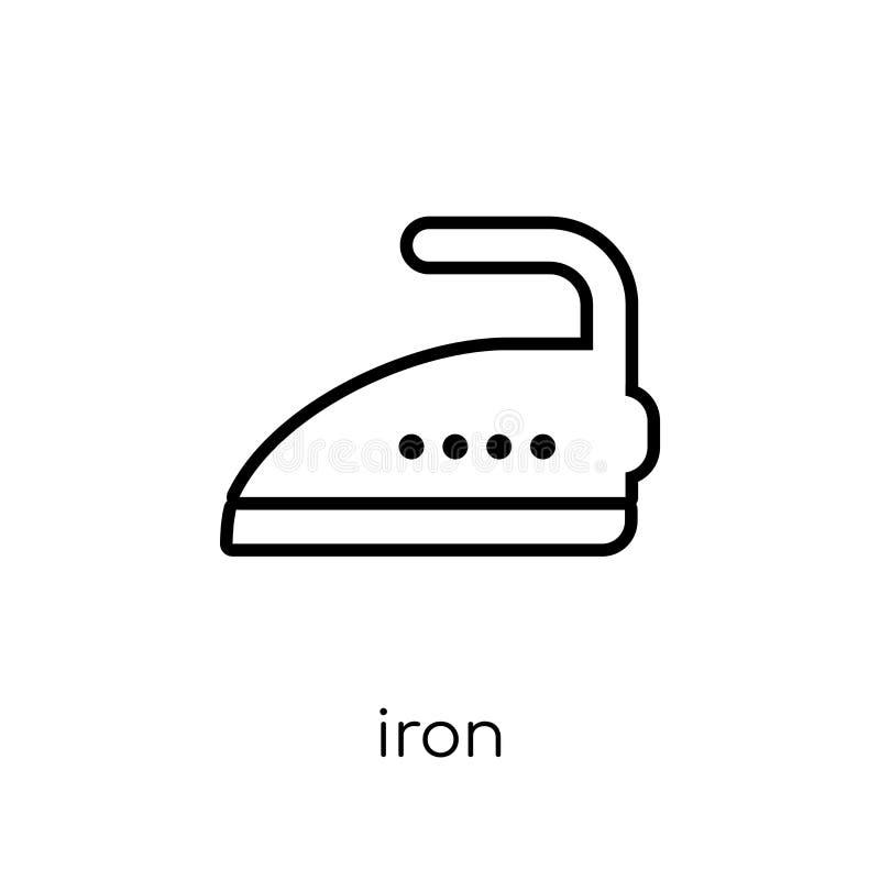 象能图标使用的铁徽标 在白色b的时髦现代平的线性传染媒介铁象 皇族释放例证