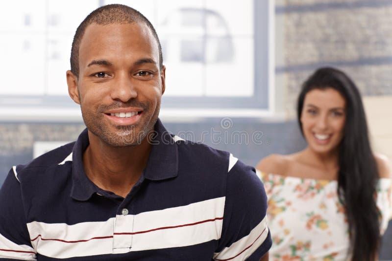 画象英俊黑人微笑 免版税库存图片
