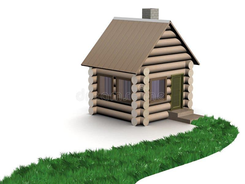 象草的房子路径小对木 向量例证