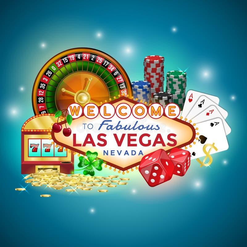 象被设置赌博在拉斯维加斯 库存例证