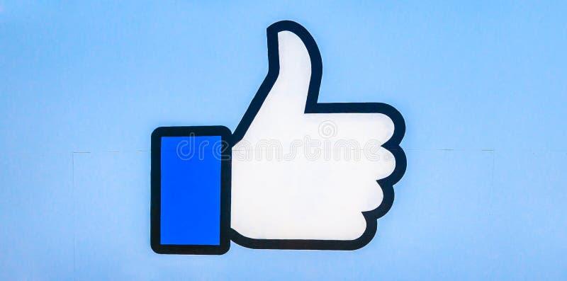 象被隔绝的商标的Facebook 库存图片