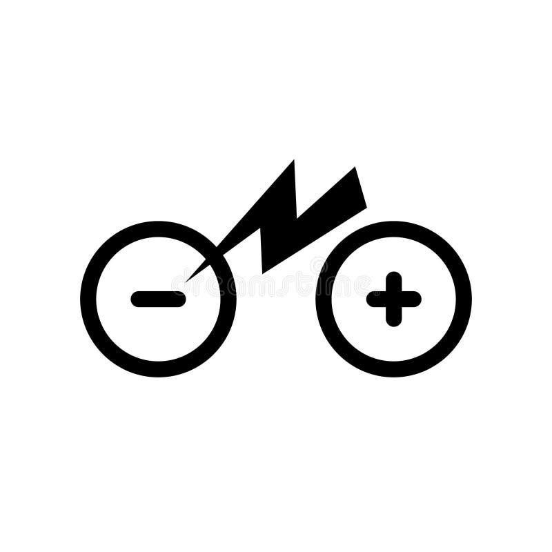 象被隔绝的城市电自行车 与电一刹那点燃的雷电标志的迁徙的e自行车标志线剪影 库存例证