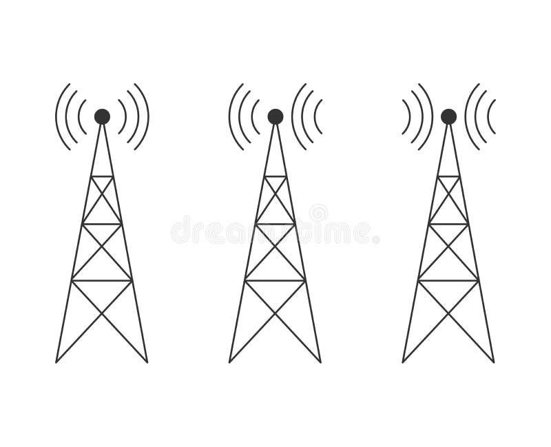 象设置与发射机、中继器和接收器帆柱平的设计 库存例证