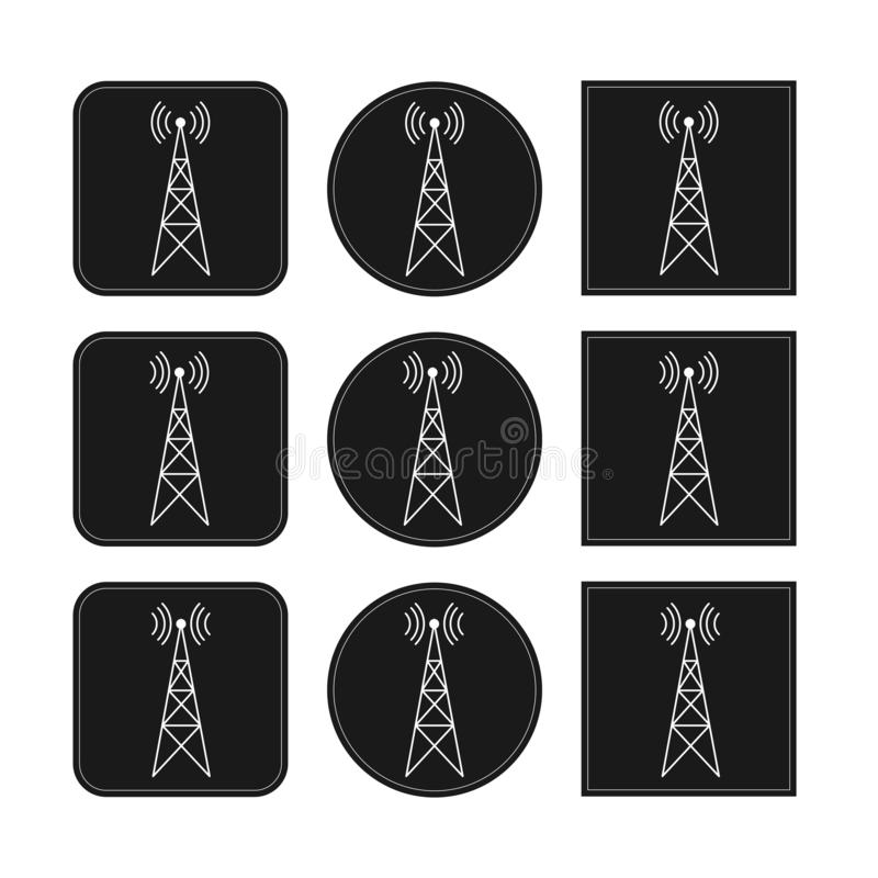象设置与在回合和方形的黑背景的发射机、中继器和接收器帆柱 向量例证