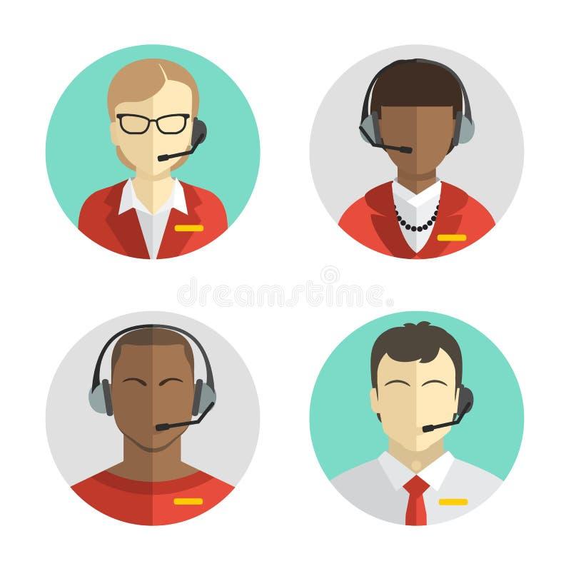 象设置了一个平的样式的男性和女性电话中心具体化与耳机,概念性通信 库存例证