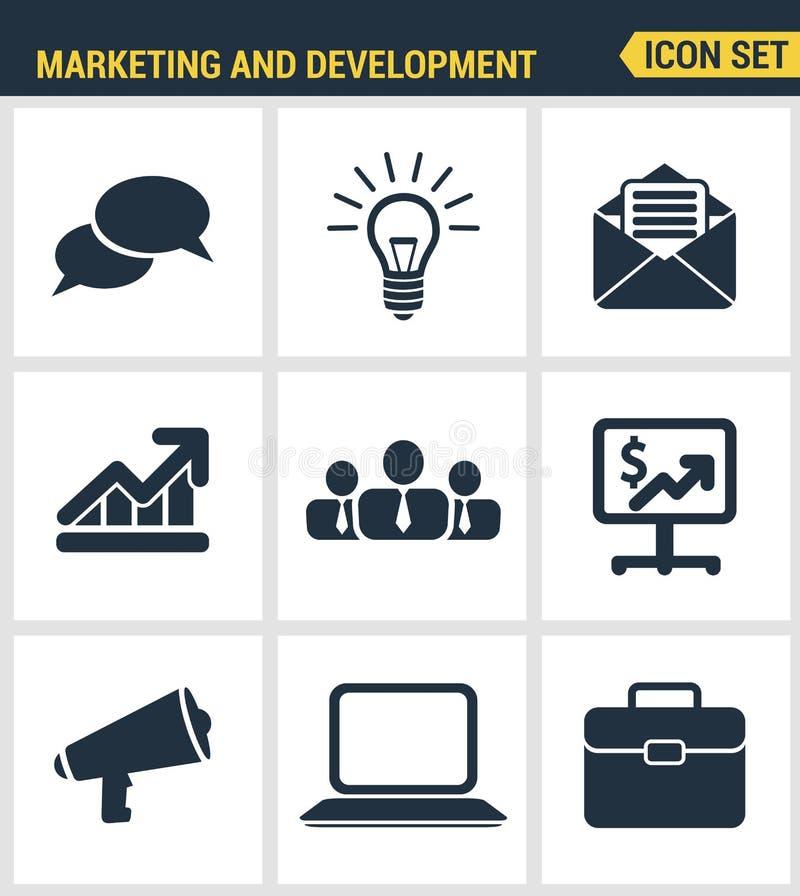 象设置了数字式营销标志、业务发展项目、社会媒介对象和办公设备的优质质量 向量例证