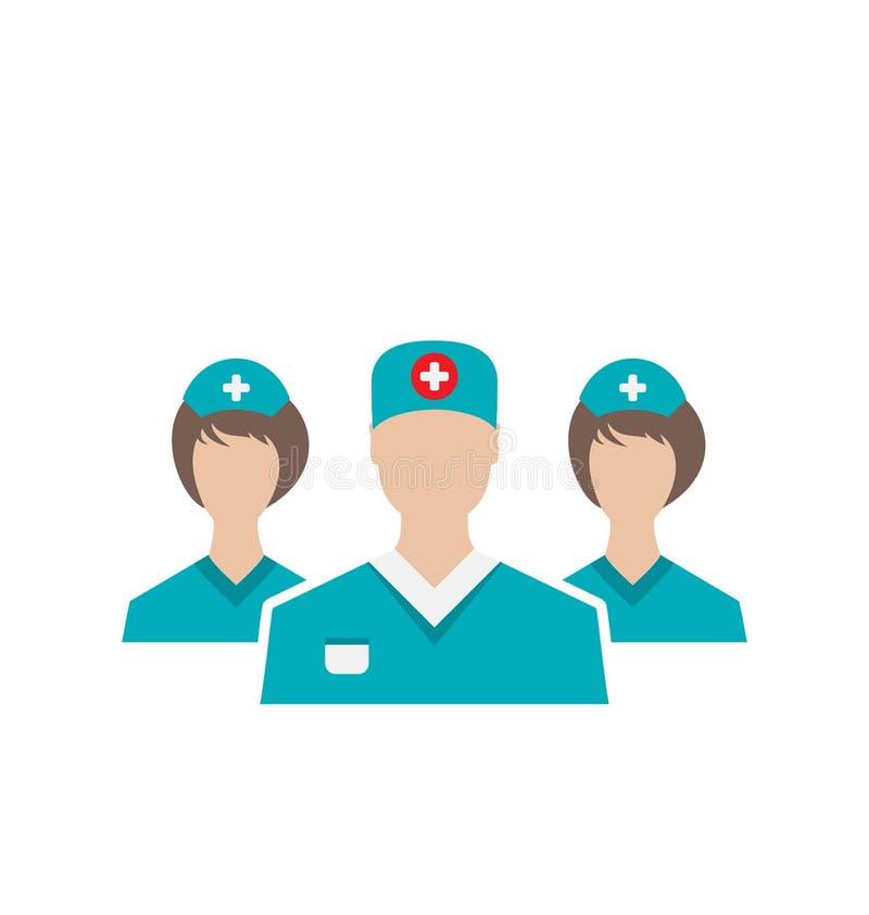 象设置了现代平的设计样式的医疗雇员, isol 向量例证