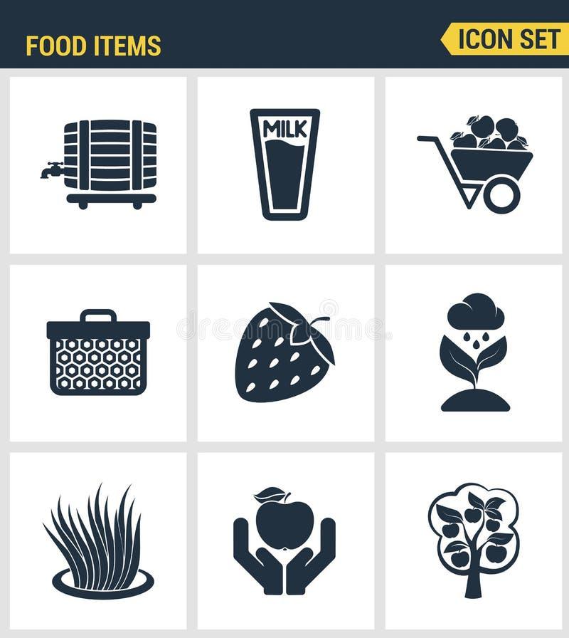 象设置了食品项目企业产业农产品植物果子的优质质量 现代图表收藏平的设计样式 向量例证