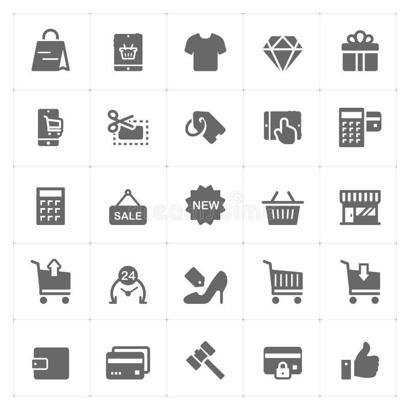象设置了-购物和商务固体象 向量例证