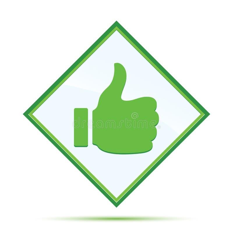象象现代抽象绿色金刚石按钮的赞许 皇族释放例证
