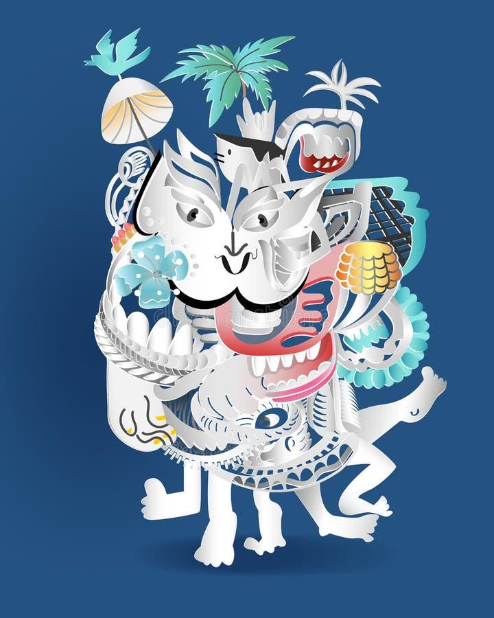 象跳舞的抽象乱画动画片在蓝色背景 向量例证