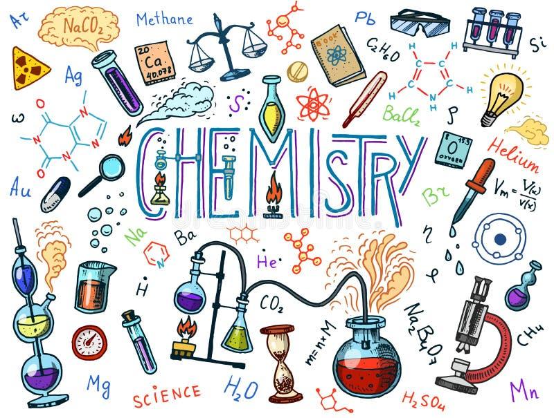 象集合化学  有元素、惯例、原子、测试管和实验室设备的黑板 实验室 皇族释放例证