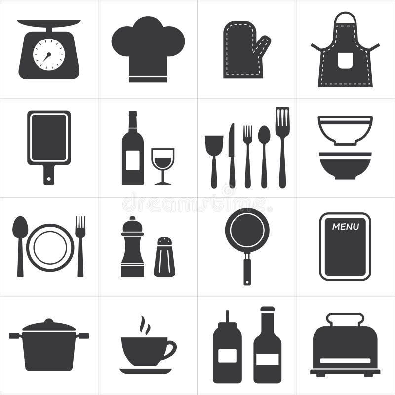 象集合厨房和烹调 皇族释放例证