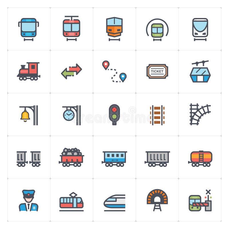 象集合–火车和运输完整色彩的传染媒介例证 向量例证