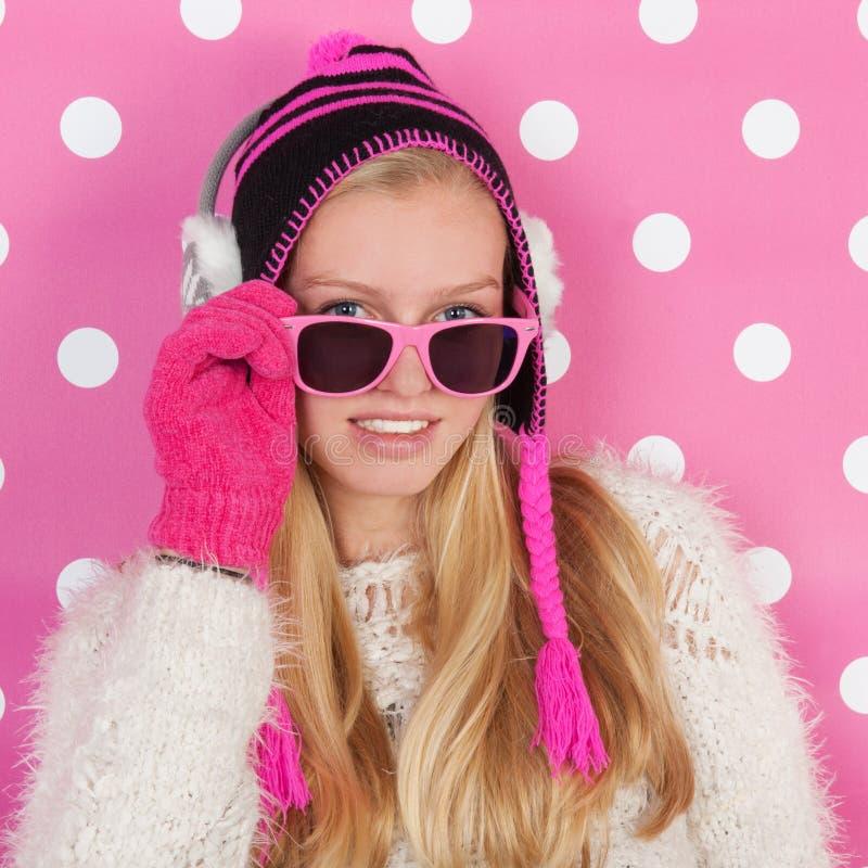 画象青少年的女孩在冬天 免版税库存图片