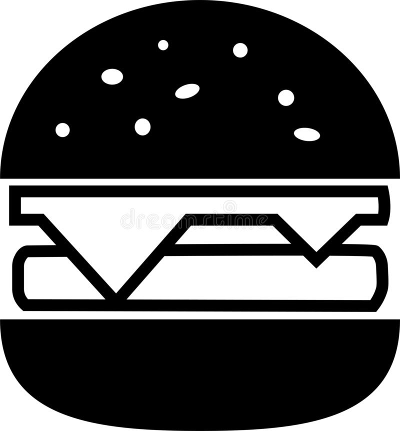 象黑色分裂汉堡包用乳酪和剁 库存例证
