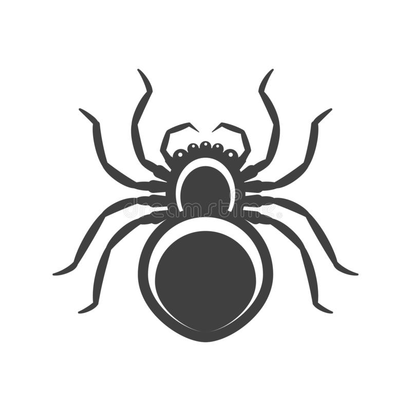 象黑色蜘蛛 在白色背景的传染媒介 皇族释放例证
