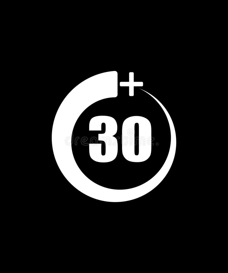 30+象,标志 年龄限制的-传染媒介例证信息象 向量例证