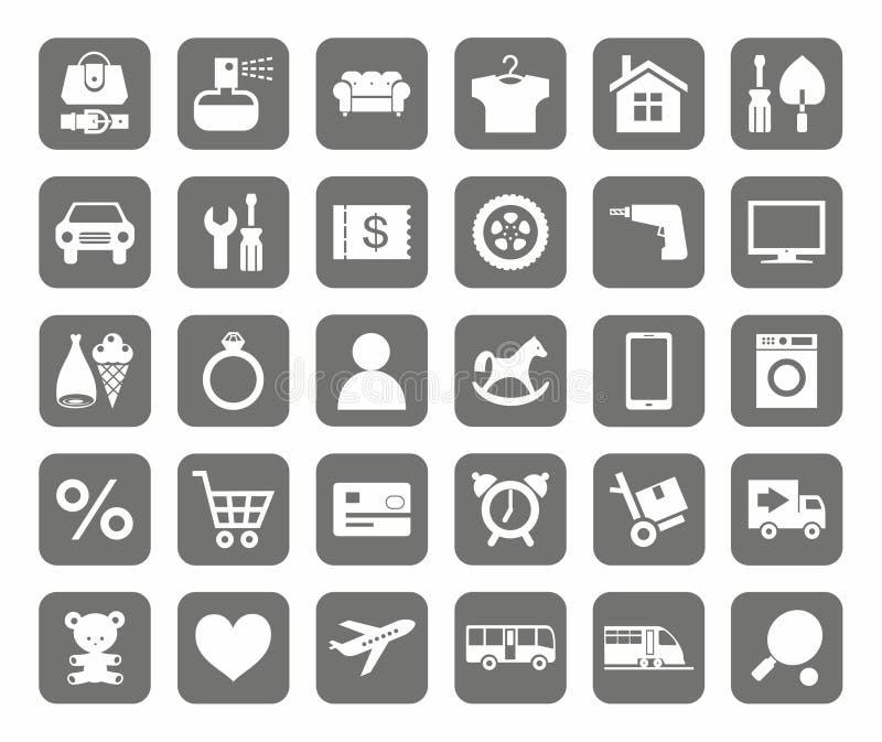 象,网上商店,产品类别,单调,灰色背景 库存例证