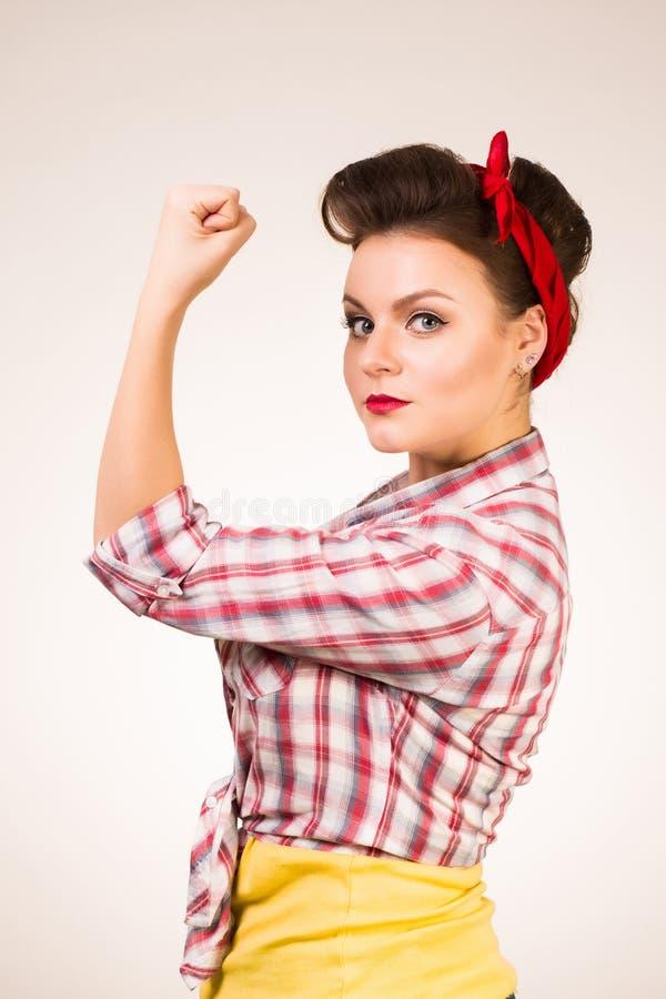 年轻象经典之作的画报白肤金发的妇女我们可以做它海报被隔绝在白色背景 免版税库存照片