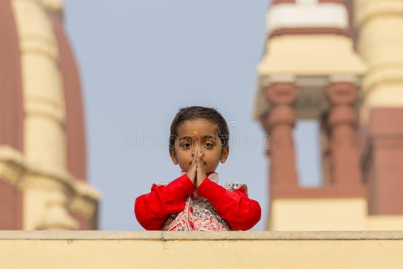 画象年轻印地安女孩在新德里,印度 免版税库存照片