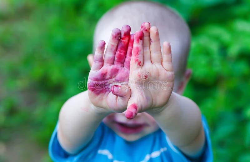 画象婴孩面孔肮脏从蓝莓 库存图片
