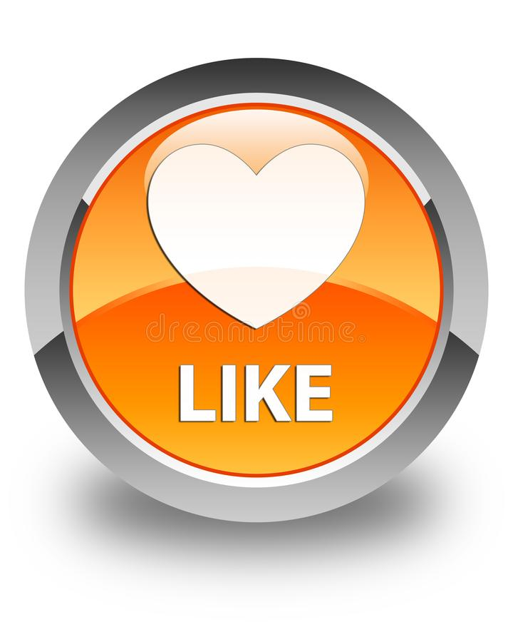 象(心脏象)光滑的橙色圆的按钮 库存例证