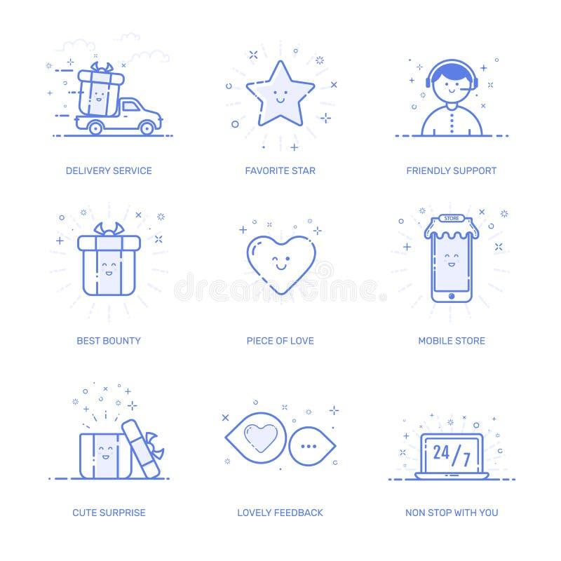 象购物概念的传染媒介例证在线型喜欢 有几何标志的线性蓝色电话 象集合 免版税库存照片