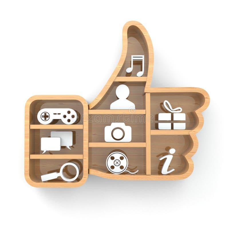 象 社会媒体概念 赞许和apps象 向量例证