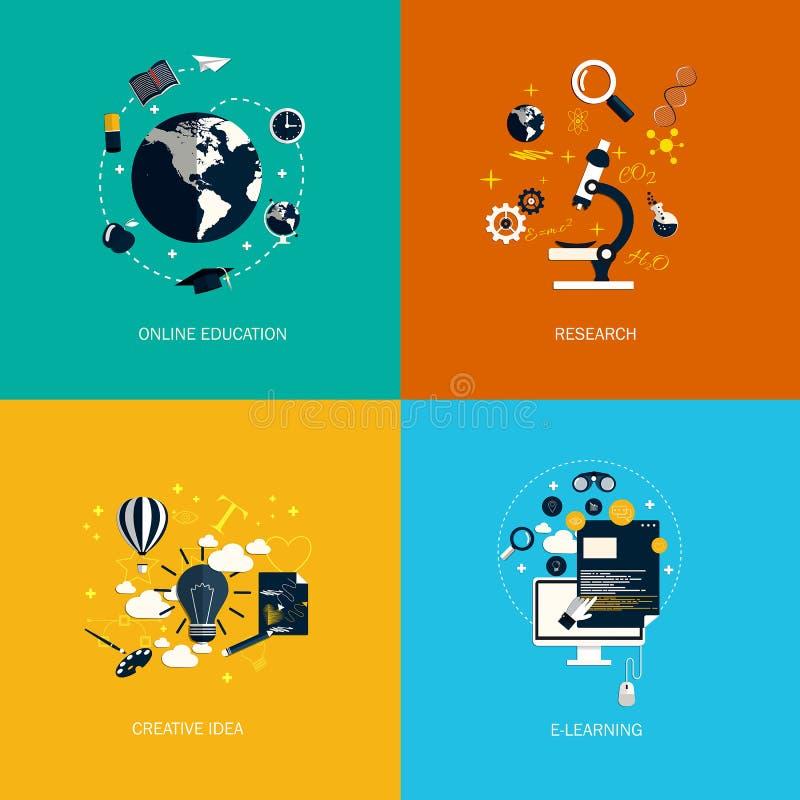 象foronline教育、研究、创造性的想法和电子教学 库存例证