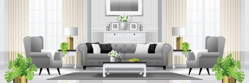 豪华与家具的客厅内部背景在经典样式 向量例证