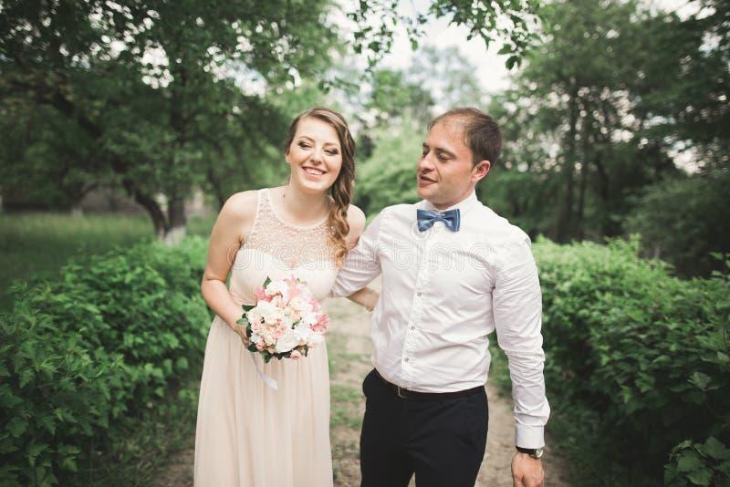 豪华与摆在公园的婚礼夫妇、新娘和新郎结婚 库存图片