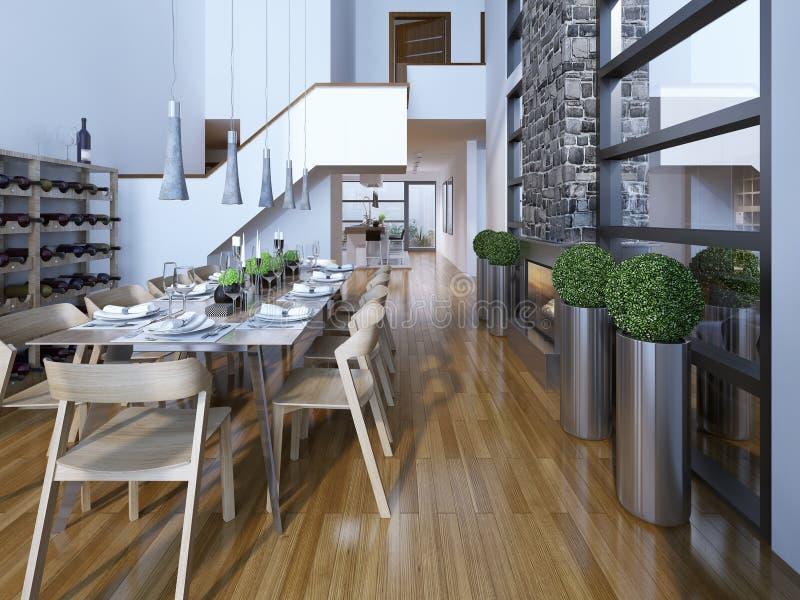 豪华两层餐厅高科技样式 免版税库存图片