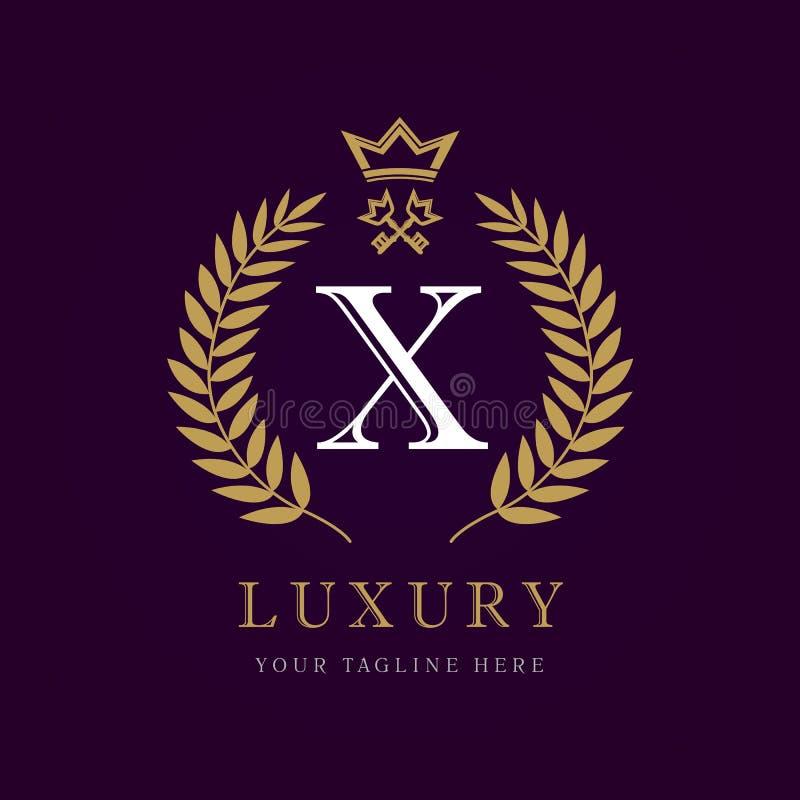 豪华书法信件x冠和钥匙组合图案商标 皇族释放例证