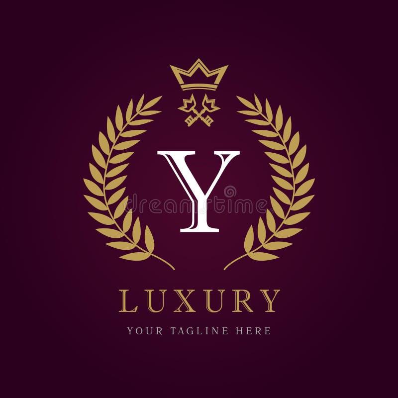 豪华书法信件Y冠和钥匙组合图案商标 皇族释放例证