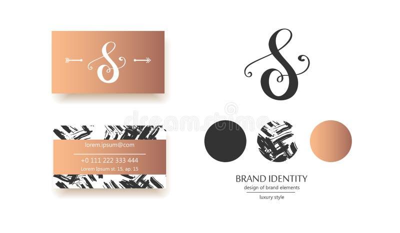豪华书法字母S组合图案-导航商标模板 老练品牌设计 向量例证