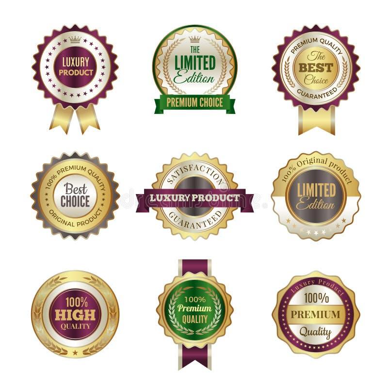 豪华优质徽章 优质金黄冠最佳的挑选标签和邮票传染媒介模板证明的和 库存例证