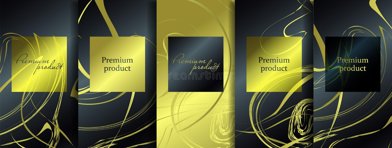 豪华优质设计 传染媒介设置了与另外纹理的包装的模板豪华产品的 向量例证