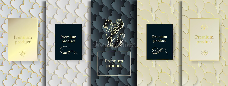 豪华优质设计 传染媒介设置了与另外纹理的包装的模板豪华产品的 库存例证