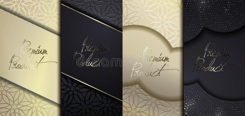 豪华优质设计 传染媒介设置了与另外纹理的包装的模板豪华产品的 VIP设计 皇族释放例证